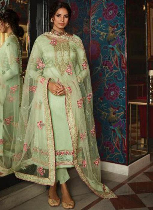 Pista Green Silk Embroidered Work Designer Salwar Suit