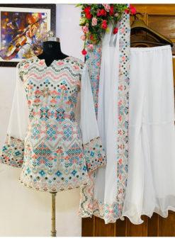 Lovely White Georgette Embroidered Work Designer Salwar Suit
