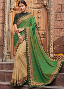 Green And Cream Georgette Embroidered Work Designer Saree