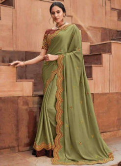 Green Georgette Embroidered Work Designer Saree