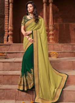 Green And Yellow Goergette Zari Border Designer Saree