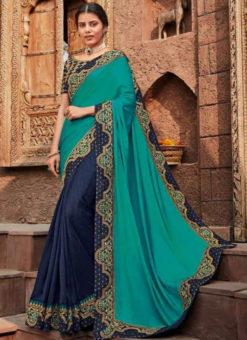 Sea Blue And Blue Embroidered Work Designer Saree
