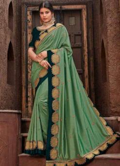 Pista Green Georgette Embroidered Work Designer Saree