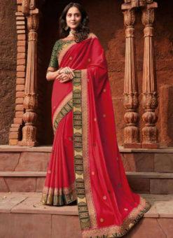 Red Georgette Patch Border Designer Saree