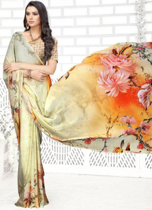 Multicolor Georgette Digital Printed Casual Wear Saree