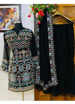 Attractive Black Georgette Embroidered Work Designer Salwar Suit