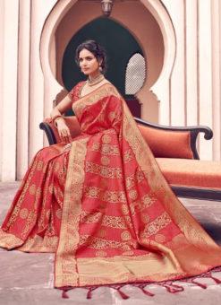 Lavish Red Banarasi Silk Zari Weaving Wedding Saree