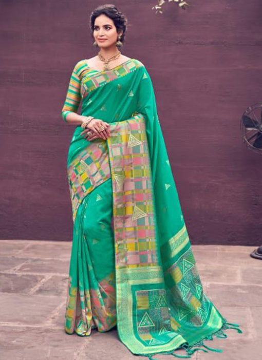 Glorious Green Banarasi Silk Zari Weaving Wedding Saree