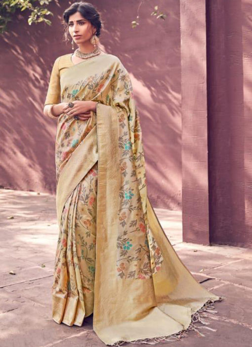 Amazing Cream Banarasi Silk Zari Weaving Wedding Saree