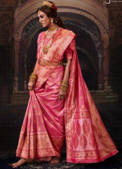 Beautiful Pink Banarasi Silk Zari Weaving Designer Wedding Saree