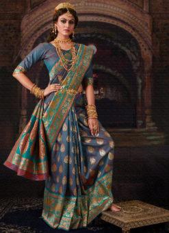 Lavish Blue Banarasi Silk Zari Weaving Designer Wedding Saree