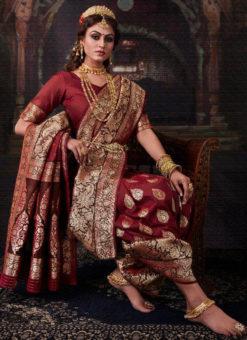 Classic Maroon Banarasi Silk Zari Weaving  Designer Wedding Saree