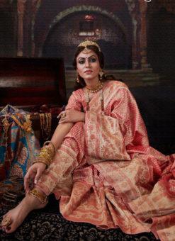 Wonderful Peach Banarasi Silk Zari Weaving Designer Wedding Saree