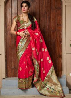 Lavish Red Silk Zari Weaving  Wedding Wear Saree