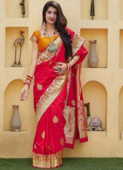 Lovely Red Silk Zari Weaving Wedding Wear Saree