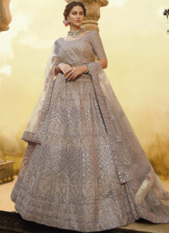 Beige Crepe Embroidered Work Designer Wedding Lehenga Choli