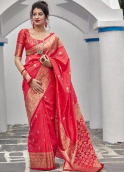Red Banarasi Silk Designer Party Wear Saree