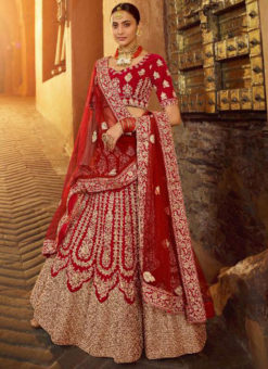 Red Velvet Resham & Embroidered Work Designer Wedding Lehenga Choli