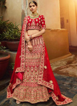 Red Velvet Resham & Embroidered Work Designer Wedding Lehenga Choli