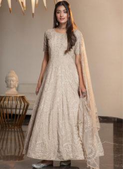 Lovely Beige Georgette  Thread Work Designer Ankle Length Anarkali Suit