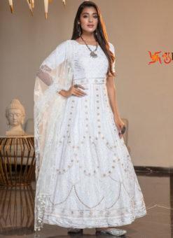 Attractive White Georgette Thread Work Designer Ankle Length Anarkali Suit