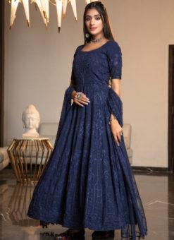 Amazing Blue Georgette Thread Work Designer Ankle Length Anarkali Suit