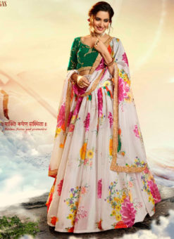 Lovely White Silk Digital Printed Party Wear Designer Lehenga Choli