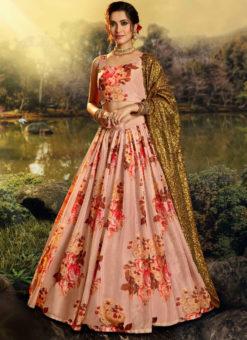 Amazing Peach Orangza Digital Printed Party Wear Designer Lehenga Choli