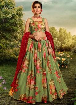 Excellent Green Organza Digital Printed Party Wear Designer Lehenga Choli