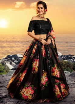 Elegant Black Silk Digital Printed Party Wear Designer Lehenga Choli