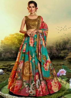 Multicolor Organza Digital Printed Party Wear Designer Lehenga Choli