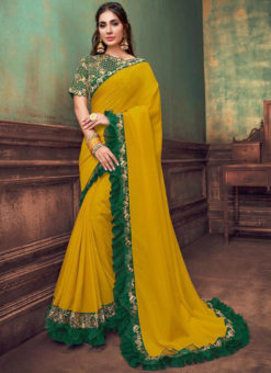 Yellow Georgette Embroidered Work Double Layer Designer Saree