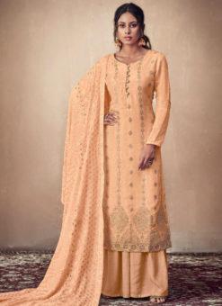 Ravishing Orange Jacquard Designer Lakhnavi Work Dupatta Salwar Suit