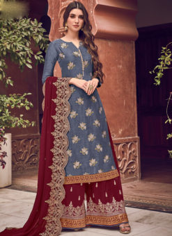 Lovely Denim Blue Jacquard Embroidered Work Designer Palazzo Suit