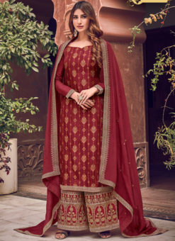Amazing Maroon Jacquard Embroidered Work Designer Palazzo Suit
