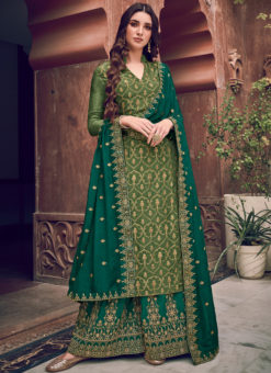 Alluring Green Jacquard Embroidered Work Designer Palazzo Suit
