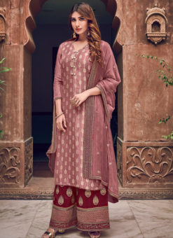 Lavish Lavender Jacquard Embroidered Work Designer Palazzo Suit