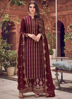 Gorgeous Maroon Jacquard Embroidered Work Designer Palazzo Suit