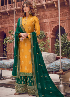Exquisite Yellow Jacquard Embroidered Work Designer Palazzo Suit