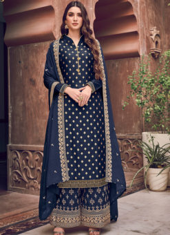 Superior Blue Jacquard Embroidered Work Designer Palazzo Suit