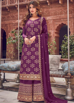 Awesome Purple Jacquard Embroidered Work Designer Palazzo Suit