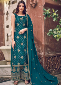 Amazing Sea Blue Jacquard Embroidered Work Designer Palazzo Suit