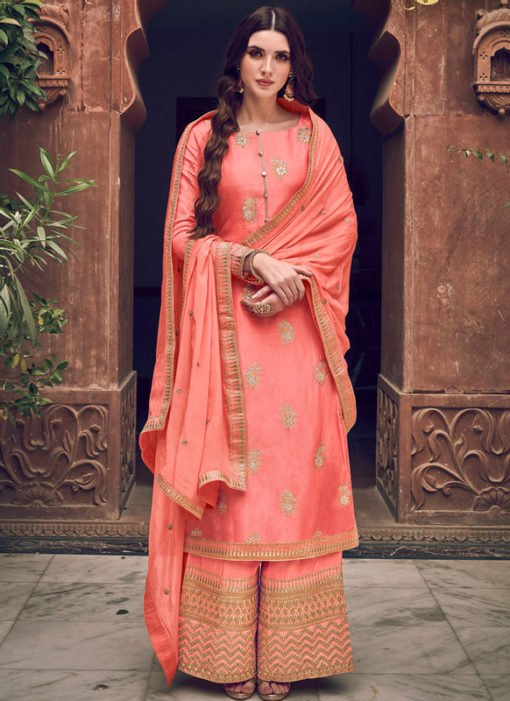 Stunning Peach Jacquard Embroidered Work Designer Palazzo Suit