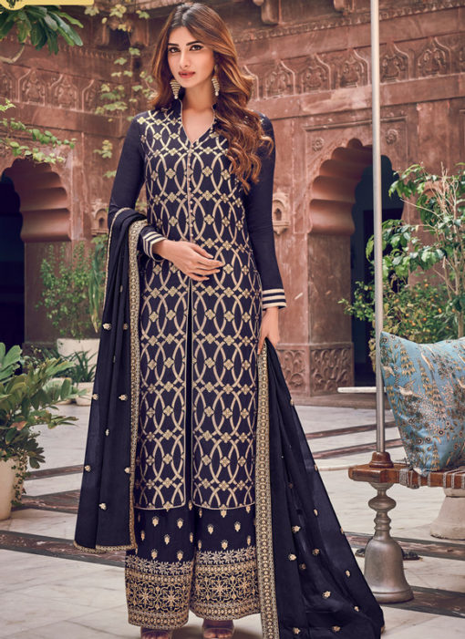 Beautiful Blue Jacquard Embroidered Work Designer Palazzo Suit
