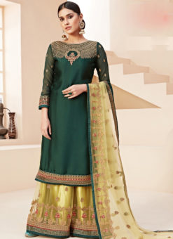 Graceful Green Satin Embroidered Work Designer Palazzo Suit