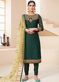 Lovely Green Satin Embroidered Work Designer Churidar Suit