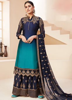 Amazing Shaded Blue Satin Embroidered Work Designer Palazzo Suit