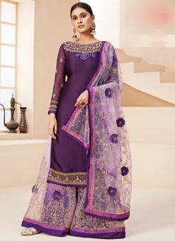 Lovely Lavender Satin Embroidered Work Designer Palazzo Suit
