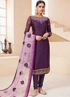 Amazing Lavender Satin Embroidered Work Designer Churidar Suit