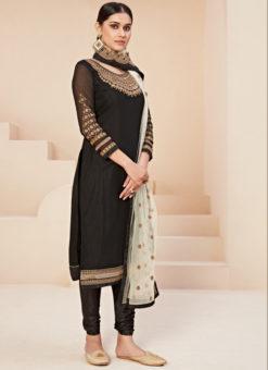 Excellent Black Satin Embroidered Work Designer Churidar Suit